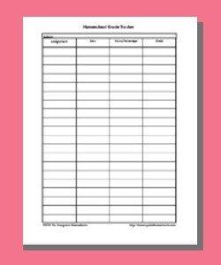 Homeschool Grade Tracker Sheet
