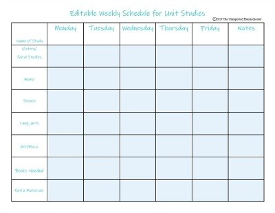 Editable Unit Study Schedule