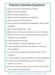 Teenage job interview questions