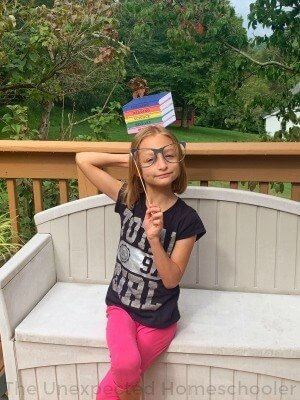 Girl with books prop